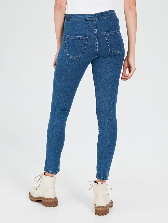 Kadın Quzu Yüksek Bel Cepsiz Jean Pantolon