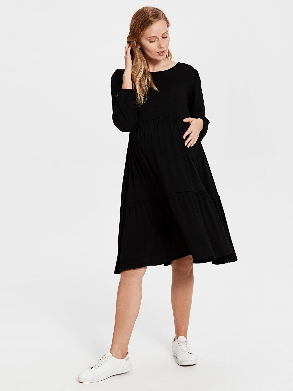 %66 Polyester %2 Elastan %32 Viskon Elbise Hamile Beli Lastikli Elbise