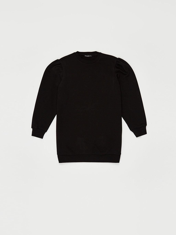 LC Waikiki Siyah Düz Basic Oversize Sweatshirt