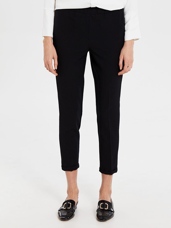 %87 Polyester %13 Elastan Standart Normal Bel Esnek Kumaş Pantolon Normal Bel Esnek Pantolon
