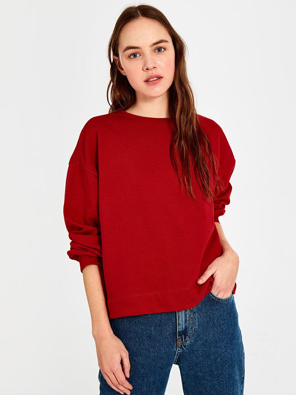 Kırmızı Düz Salaş Sweatshirt 9WA167Z8 LC Waikiki