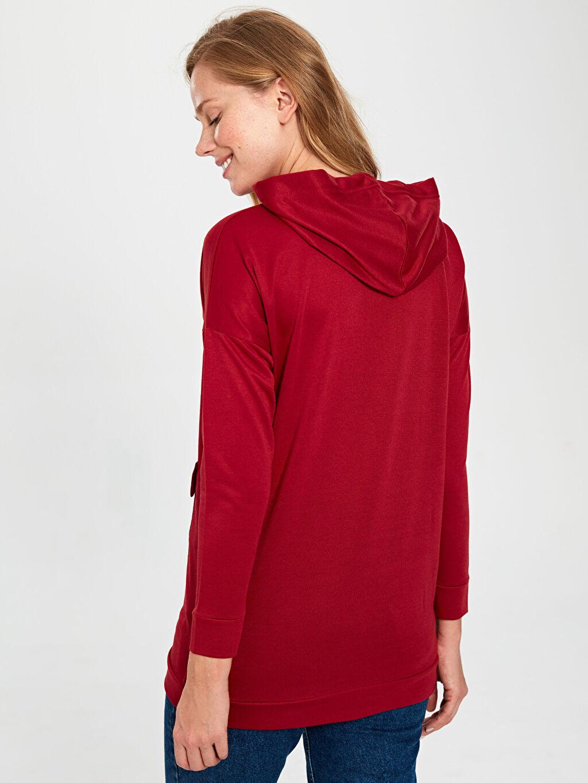 %100 Polyester Slogan Baskılı Kapüşonlu Sweatshirt