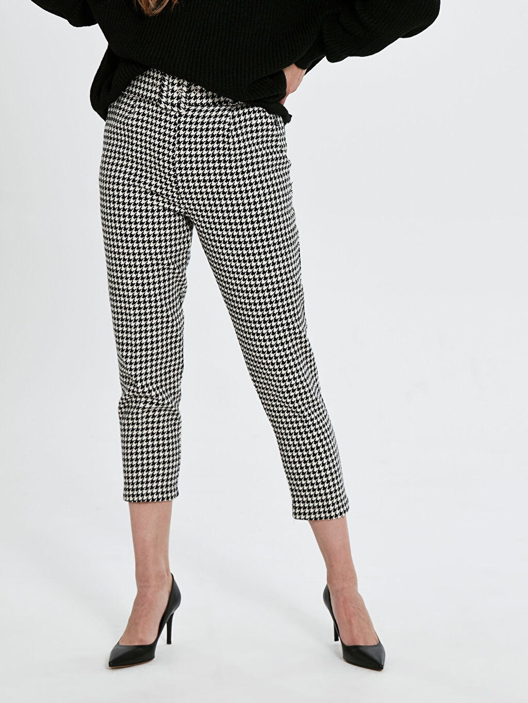 Yüksek Bel Esnek olmayan Kısa Paça Kemerli Pantolon Quzu Kemerli Kaz Ayağı Desenli Pantolon