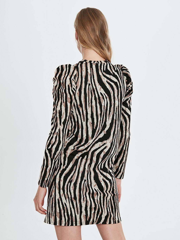 Quzu Zebra Desenli Elbise