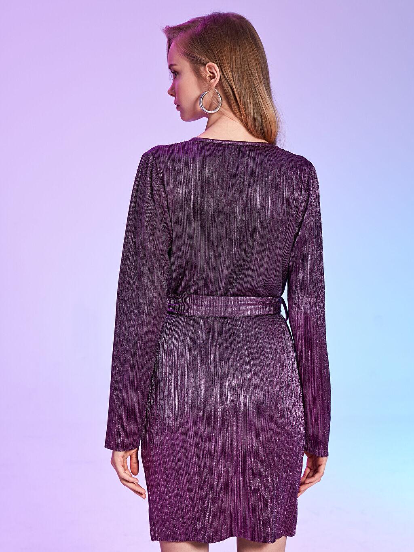 Kadın Rubyred Kuşaklı Işıltılı Elbise