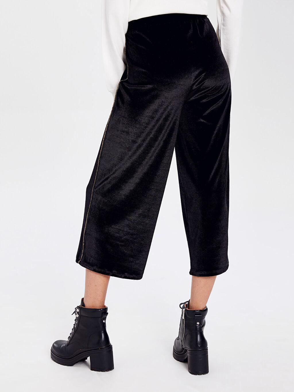 Kadın Beli Lastikli Kısa Paça Kadife Pantolon