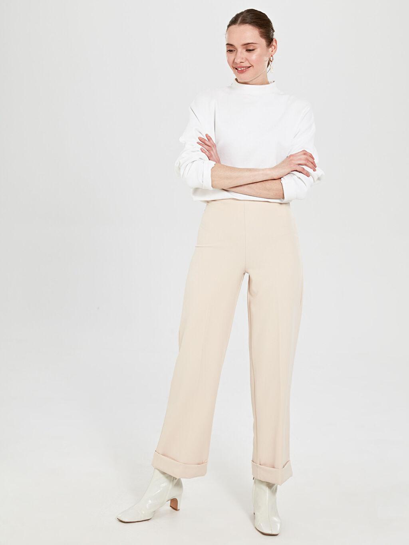 Kadın Allday Paça Detaylı Yüksek Bel Pantolon