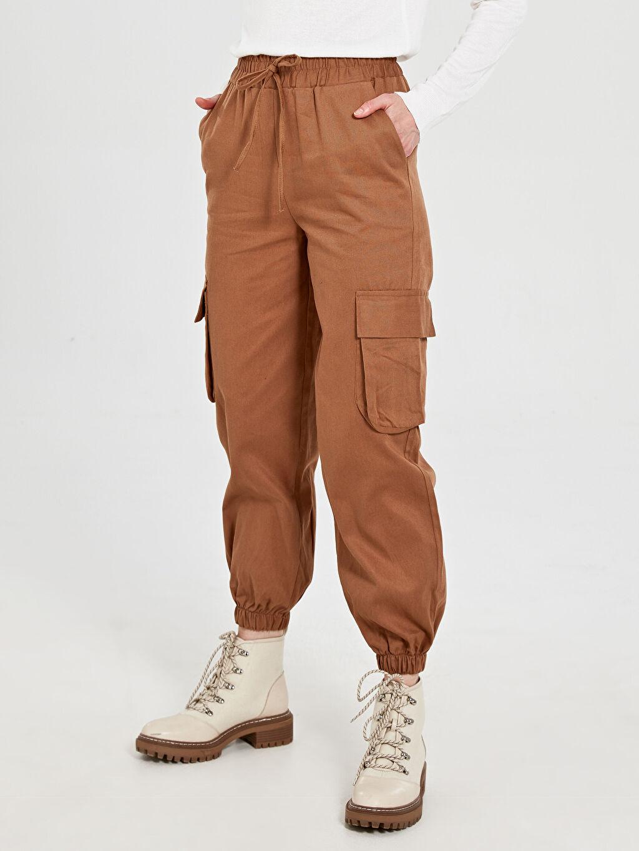 Esnek olmayan Standart Lastikli Bel Pantolon Allday Camel Pantolon