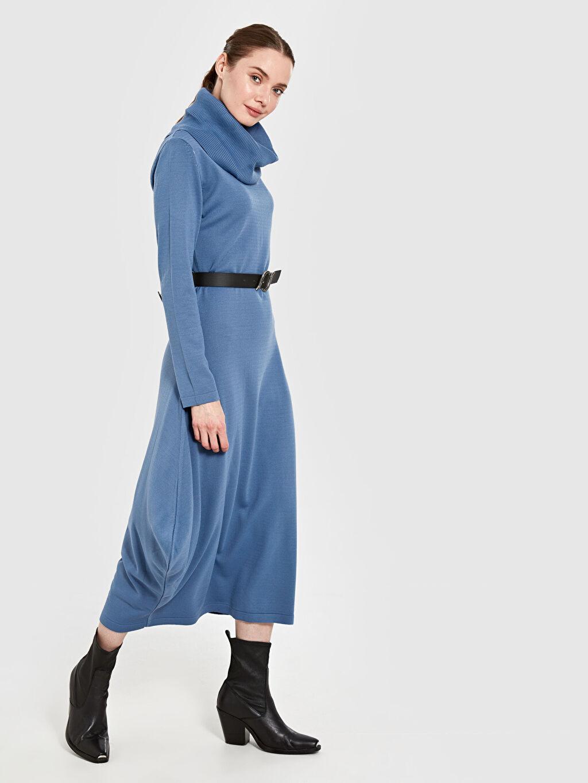 Uzun Düz Uzun Kol Allday Balıkçı Yaka Triko Elbise