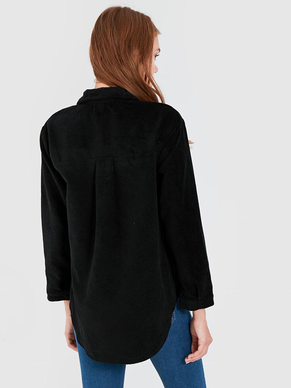 Kadın Quzu Cepli Kadife Gömlek