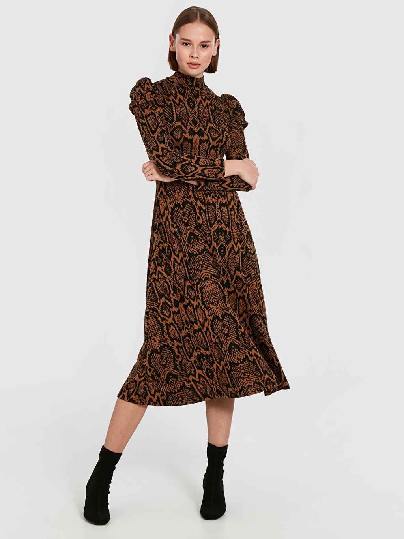 Kahverengi Quzu Yılan Derisi Desenli Kloş Elbise 9WA819Z8 LC Waikiki
