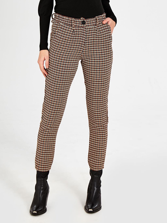 Kadın Nisan Triko Desenli Kumaş Pantolon