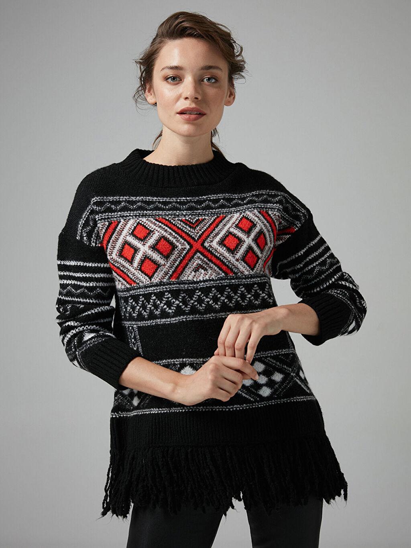 Kadın Join Us Desenli Püsküllü Triko Tunik