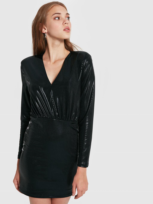 Siyah Quzu Kruvaze Yaka Işıltılı Mini Elbise 9WB633Z8 LC Waikiki