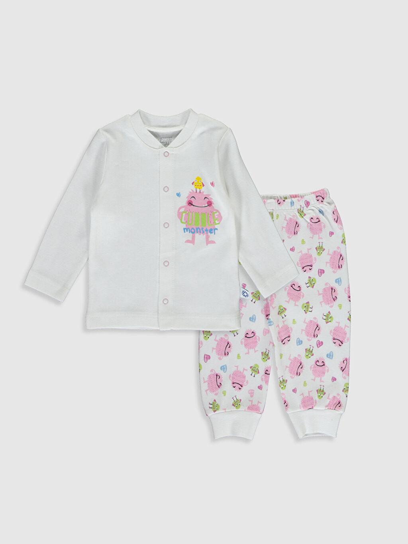 Beyaz Luggi Baby Yenidoğan Desenli Pijama Takımı 9WB901Z1 LC Waikiki
