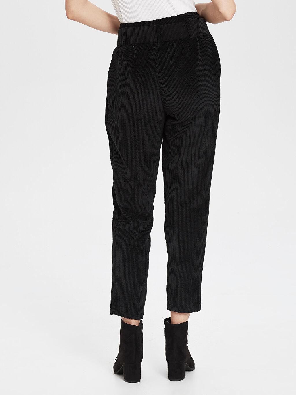 Kadın Sateen Kemerli Havuç Pantolon