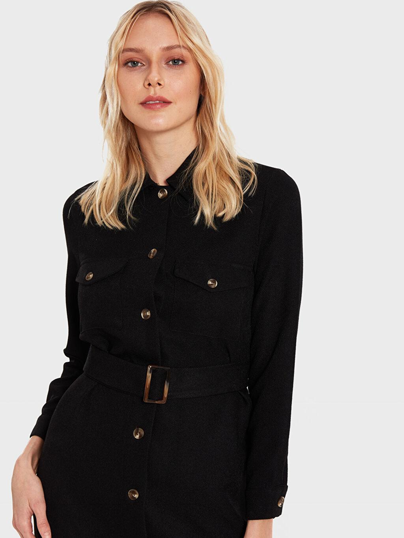 Diz Altı Düz Uzun Kol İkol Kuşaklı Gömlek Elbise