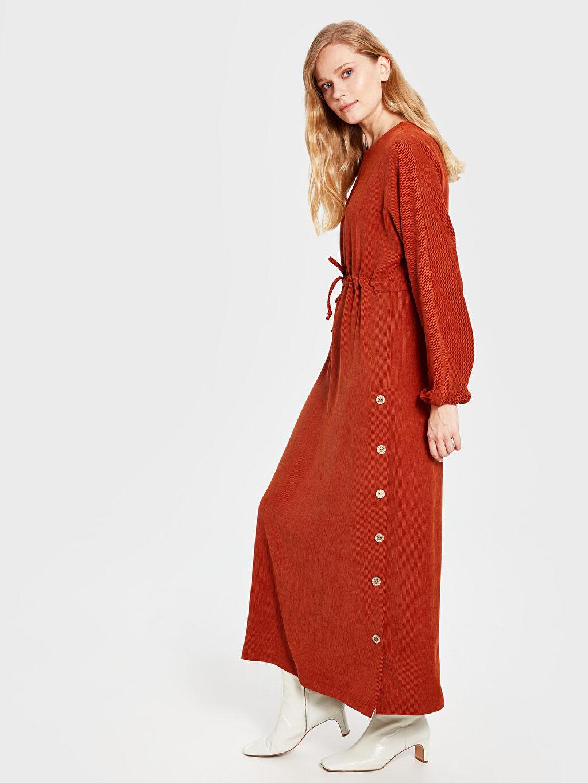 Uzun Düz Uzun Kol Soul By Loreen Düğme Detaylı Kuşaklı Elbise