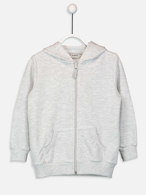 Gri Kız Çocuk Fermuarlı Kapüşonlu Sweatshirt 9W0604Z4 LC Waikiki