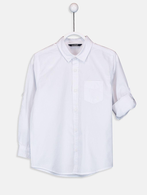 Beyaz Erkek Çocuk Poplin Gömlek 9W0635Z4 LC Waikiki