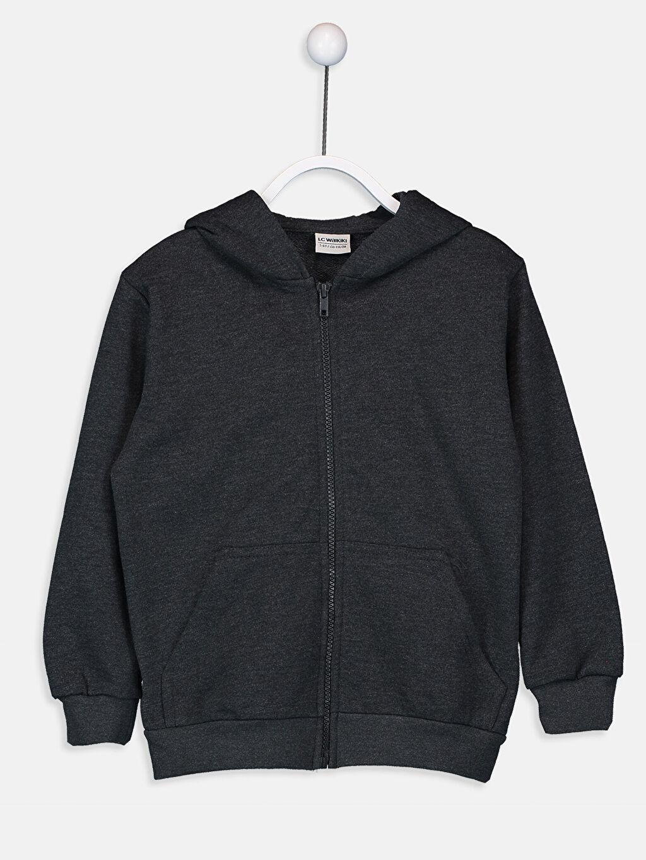 Antrasit Erkek Çocuk Fermuarlı Kapüşonlu Sweatshirt 9W0927Z4 LC Waikiki