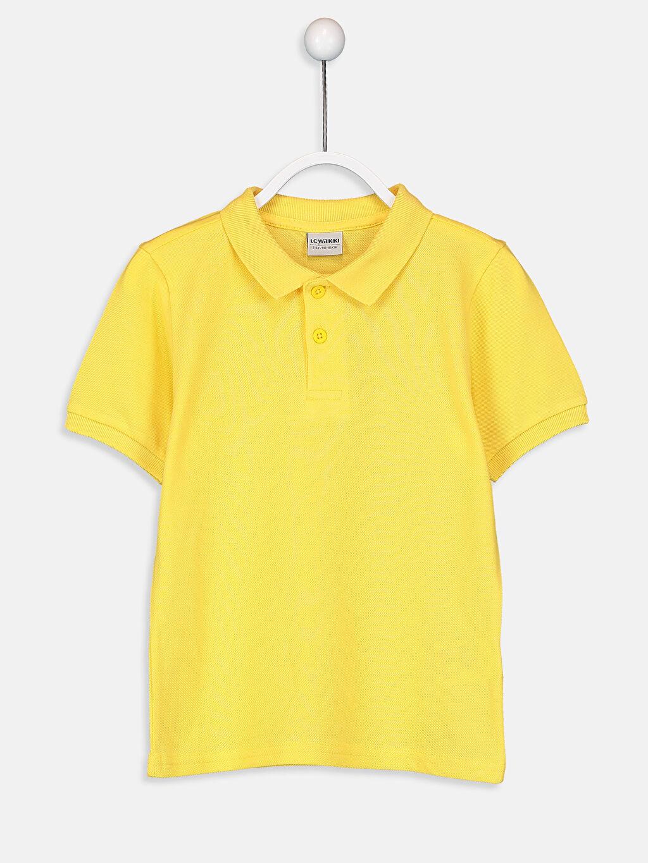 Sarı Erkek Çocuk Pamuklu Basic Tişört 9W0930Z4 LC Waikiki