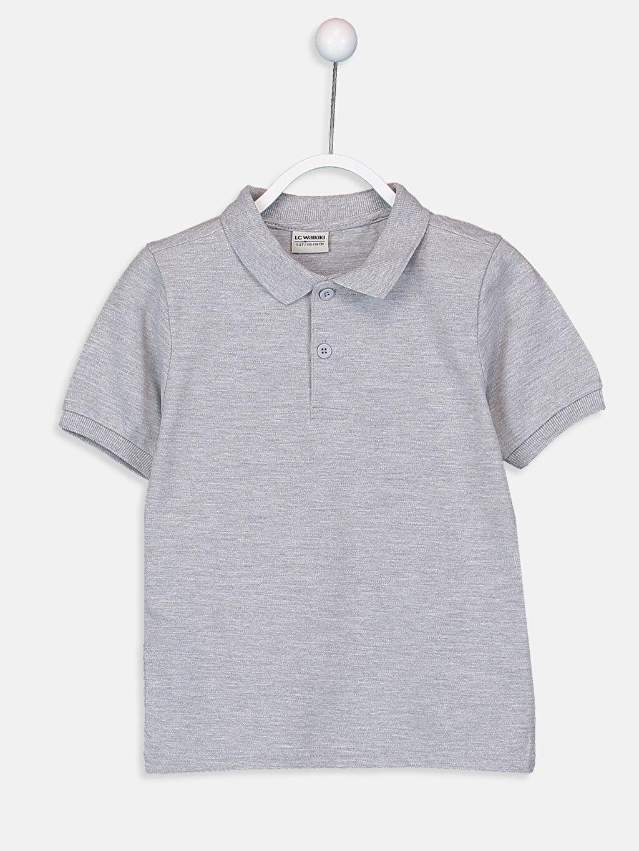 Gri Erkek Çocuk Pamuklu Basic Tişört 9W0930Z4 LC Waikiki
