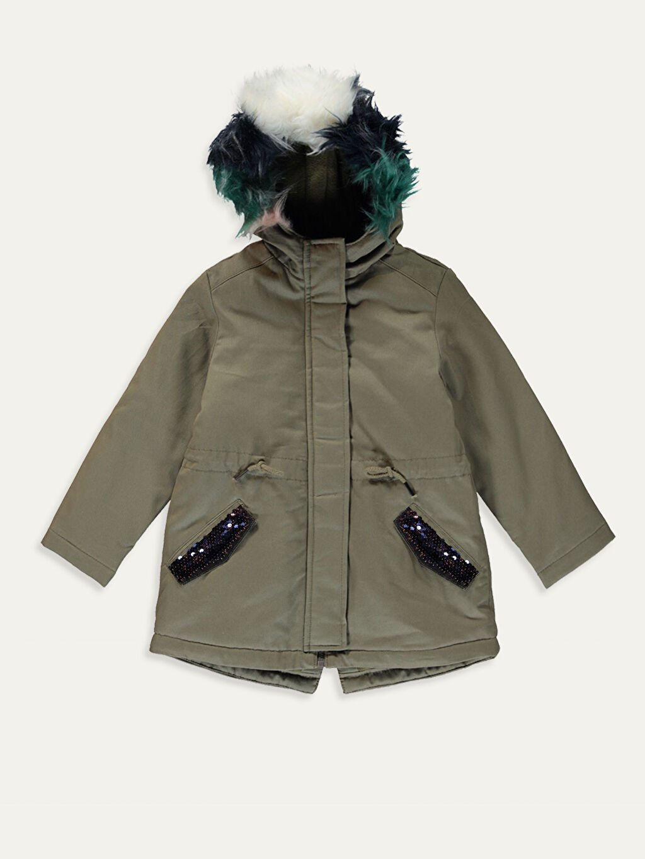 %100 Pamuk %100 Polyester Orta Mont Kız Çocuk Kapüşonlu Mont