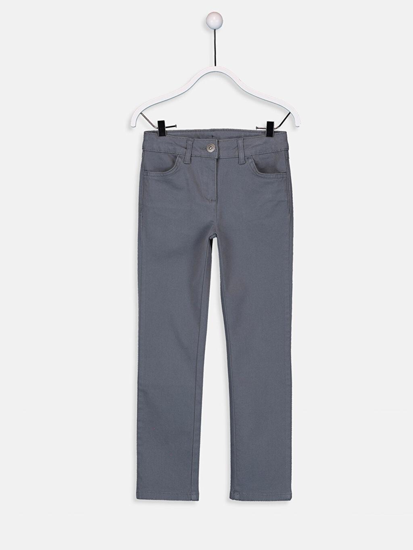 Antrasit Kız Çocuk Slim Gabardin Pantolon 9W1232Z4 LC Waikiki