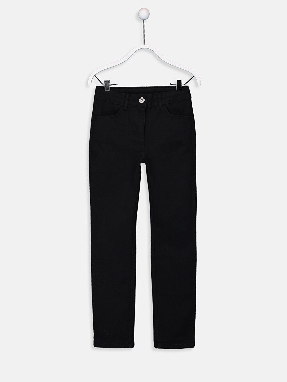 Siyah Kız Çocuk Slim Gabardin Pantolon 9W1232Z4 LC Waikiki