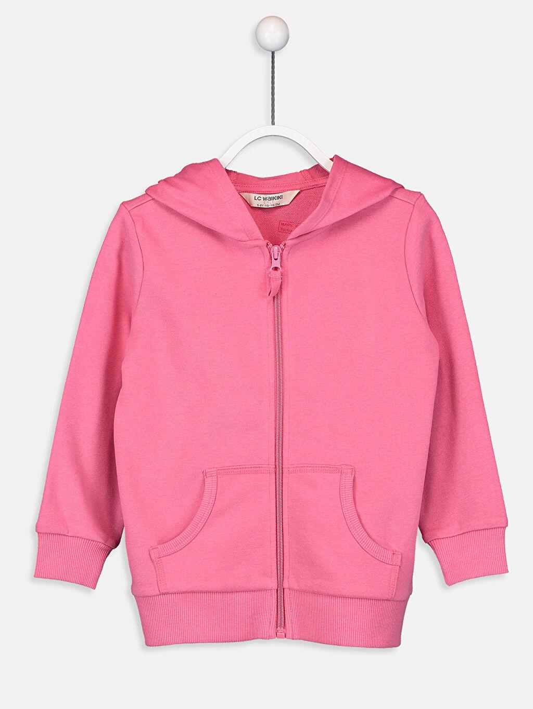 Pembe Kız Çocuk Fermuarlı Kapüşonlu Sweatshirt 9W2445Z4 LC Waikiki