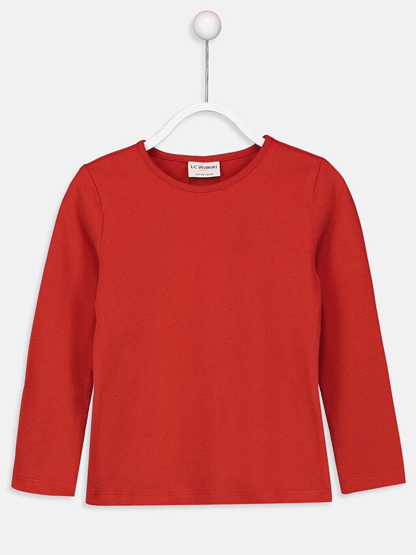 Kırmızı Kız Çocuk Pamuklu Basic Tişört 9W2619Z4 LC Waikiki