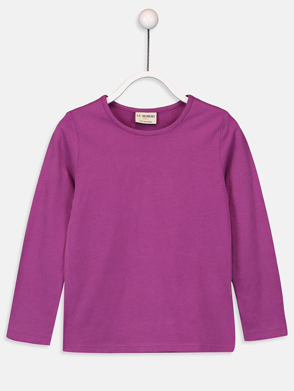 Mor Kız Çocuk Pamuklu Basic Tişört 9W2619Z4 LC Waikiki