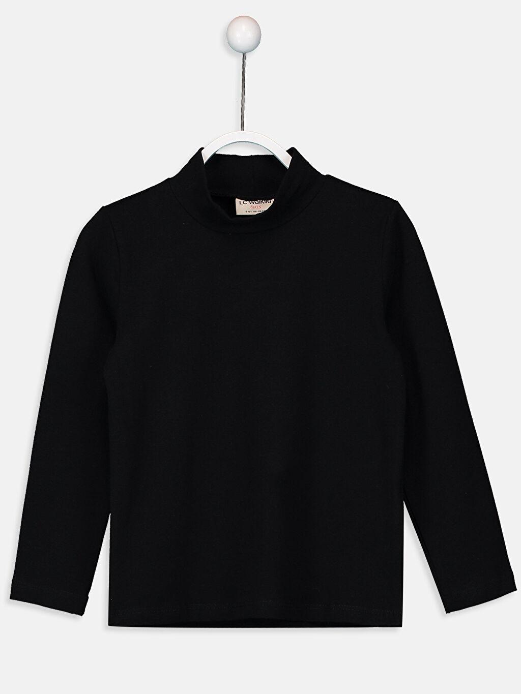 Siyah Kız Çocuk Pamuklu Basic Tişört 9W2622Z4 LC Waikiki