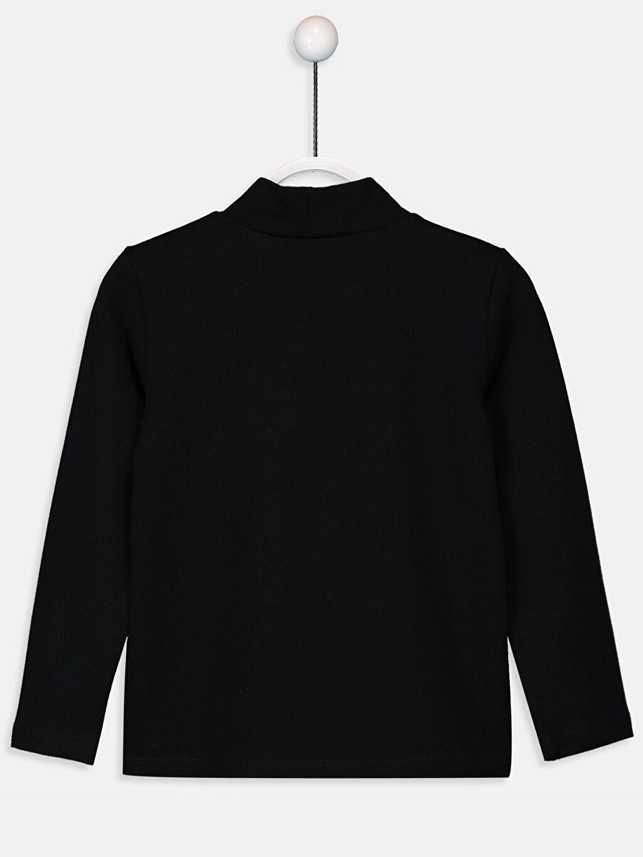 %93 Pamuk %7 Elastan Balıkçı Yaka Uzun Kol Düz Standart Tişört Kız Çocuk Pamuklu Basic Tişört