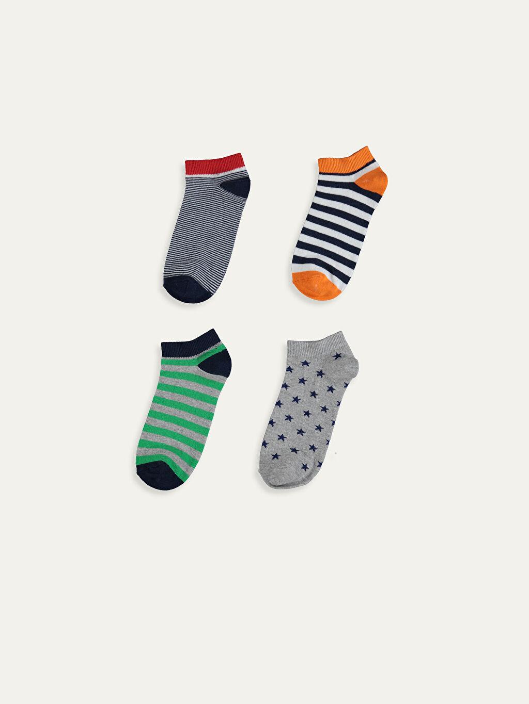 %50 Pamuk %24 Polyester %24 Poliamid %2 Elastan  Erkek Çocuk Patik Çorap 5'li