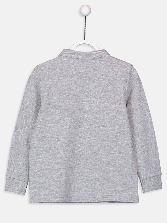 %62 Pamuk %38 Polyester Düz Normal Tişört Polo Uzun Kol Erkek Çocuk Uzun Kollu Basic Tişört