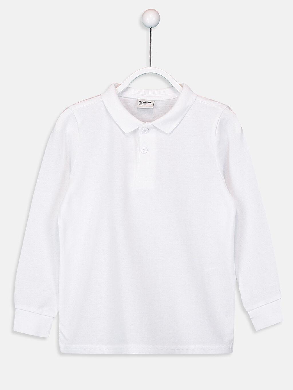 Beyaz Erkek Çocuk Uzun Kollu Basic Tişört 9W2687Z4 LC Waikiki