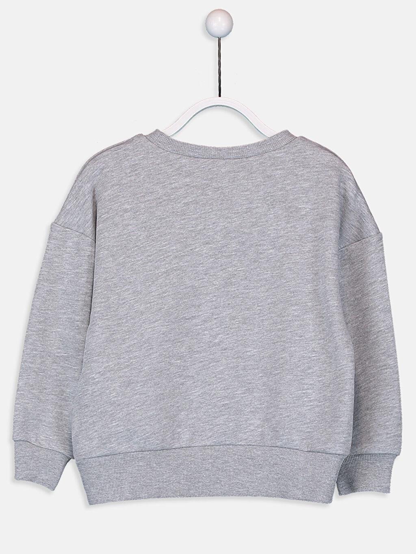%44 Pamuk %56 Polyester  Kız Çocuk Yazı Baskılı Sweatshirt