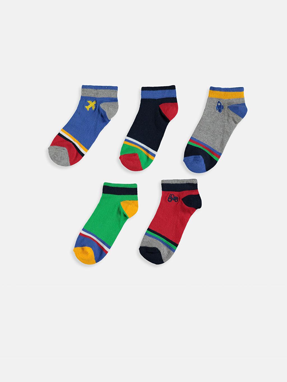 %78 Pamuk %6 Polyester %14 Poliamid %2 Elastan  Erkek Çocuk Patik Çorap 5'li
