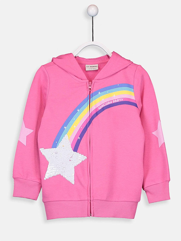 %57 Pamuk %43 Polyester  Kız Çocuk Pul İşlemeli Fermuarlı Kapüşonlu Sweatshirt