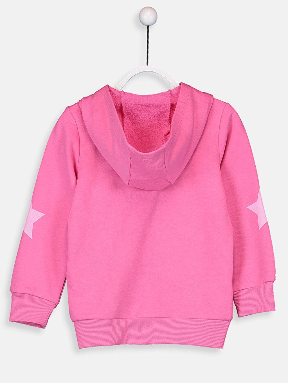 Kız Çocuk Kız Çocuk Pul İşlemeli Fermuarlı Kapüşonlu Sweatshirt