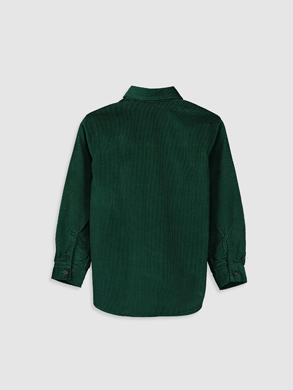 %100 Pamuk Standart Uzun Kol Düz Erkek Çocuk Uzun Kollu Kadife Gömlek