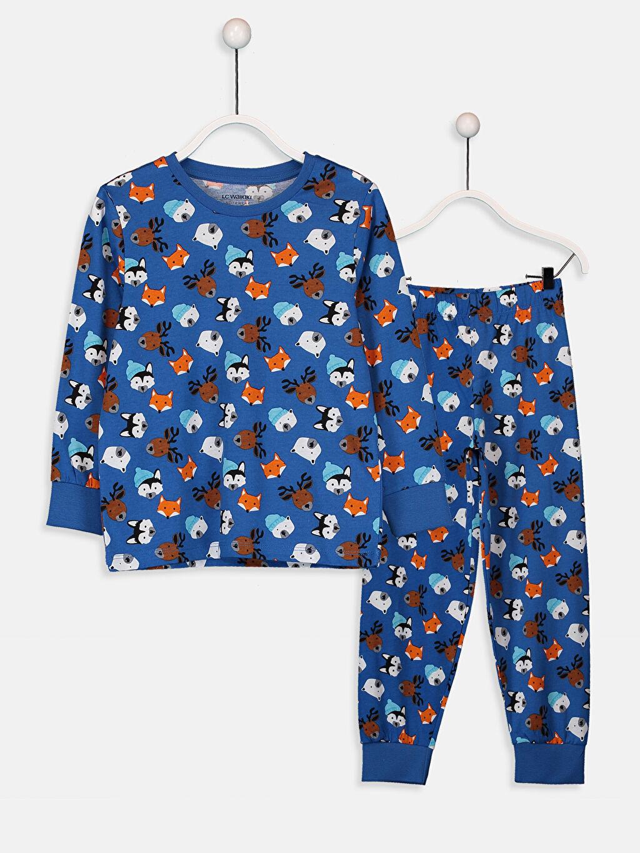 Mavi Erkek Çocuk Baskılı Pamuklu Pijama Takımı 9W3668Z4 LC Waikiki