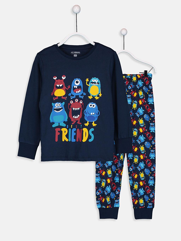 Lacivert Erkek Çocuk Baskılı Pamuklu Pijama Takımı 9W3679Z4 LC Waikiki