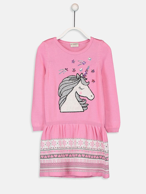 Pembe Kız Çocuk Unicorn Desenli İnce Triko Elbise 9W3810Z4 LC Waikiki