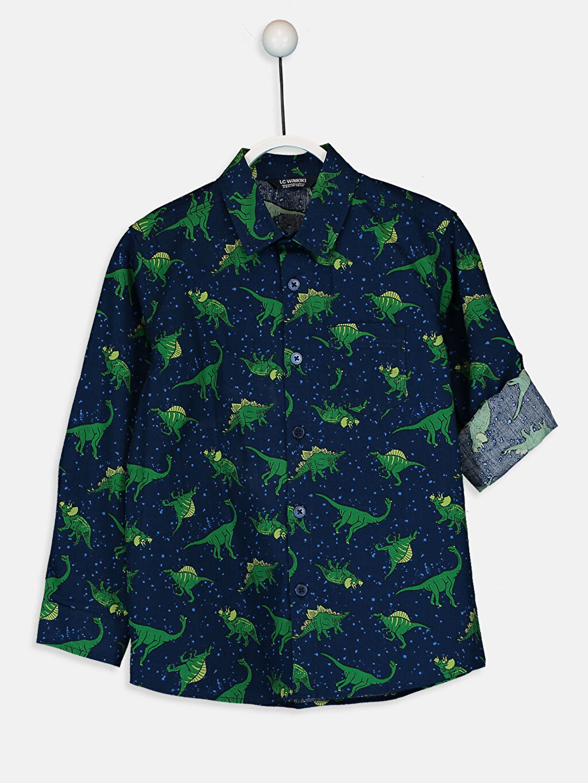Yeşil Erkek Çocuk Desenli Poplin Gömlek 9W4957Z4 LC Waikiki