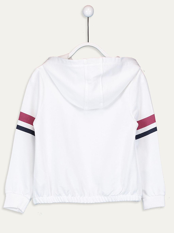 %82 Pamuk %18 Polyester  Kız Çocuk Baskılı Kapüşonlu Sweatshirt