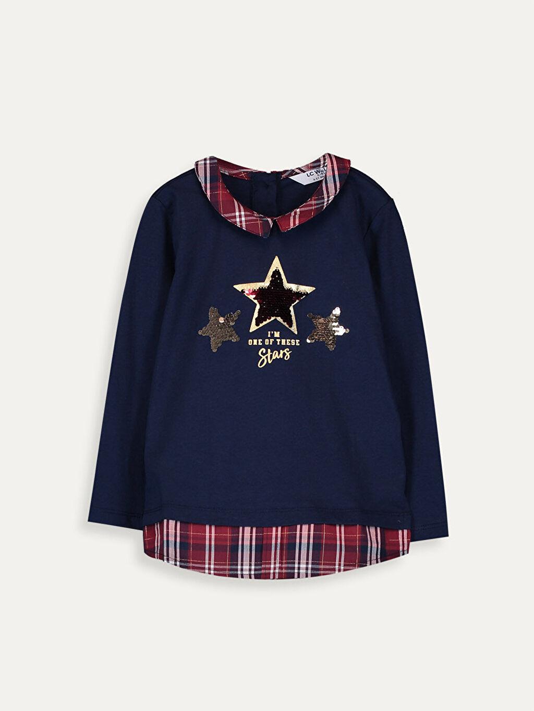 %100 Pamuk Standart Baskılı Tişört Diğer Uzun Kol Kız Çocuk Çift Yönlü Payetli Pamuklu Tişört