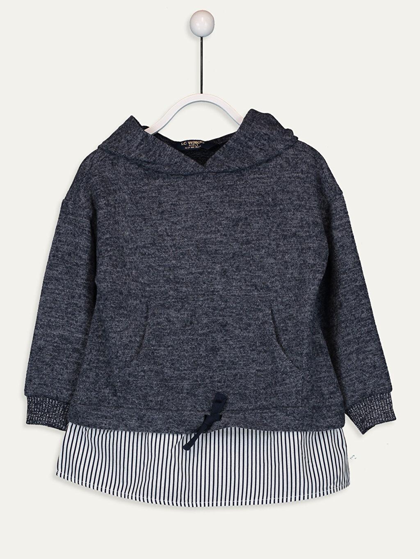 Lacivert Kız Çocuk Kapüşonlu Sweatshirt 9W5231Z4 LC Waikiki
